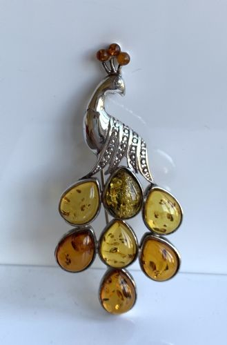 Multi Coloured Amber Sterling Silver Peacock Brooch